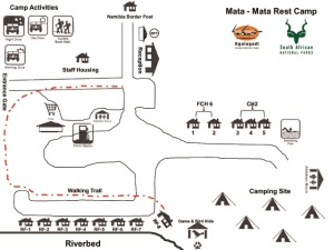 Map of the Mata Mata campsite courtesy of SANParks website