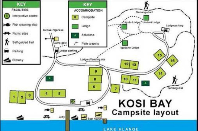 Kosi Bay Campsite layout